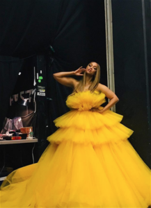 tyra banks yellow dress