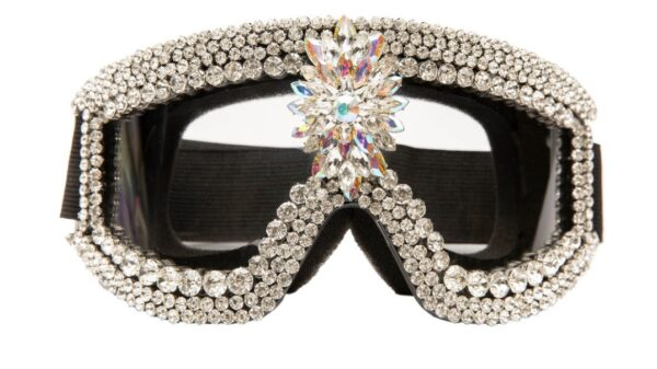 Goggles covered in crystal Rhinestones.