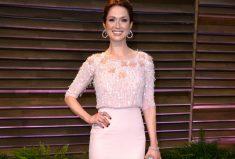 Vanity Fair Oscar Party Dress Spotlight on Ellie Kemper wearing Brumani Diamond Earrings