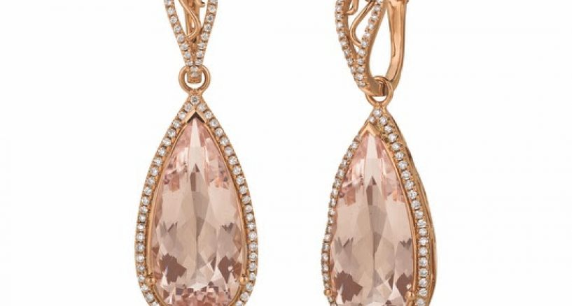 Lady Gaga Rocks Le Vian morganite earrings with diamond accents