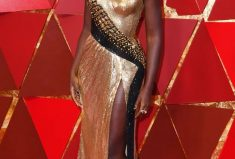 Oscar winning actress Lupita Nyong'o wears the Alexandre Birman Heel