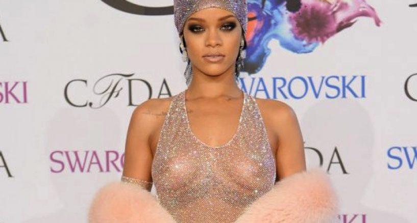 Rihanna's Beaded Nude Dress Sensation