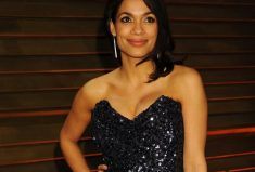 Rosario Dawson Wearing Demarco Diamond Earrings at the 2014 Vanity Fair Oscar Party